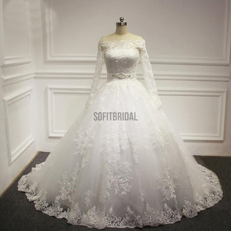 Straight Neck Long Sleeve White Lace Beaded Wedding Party Dresses, WD0029 - SofitBridal