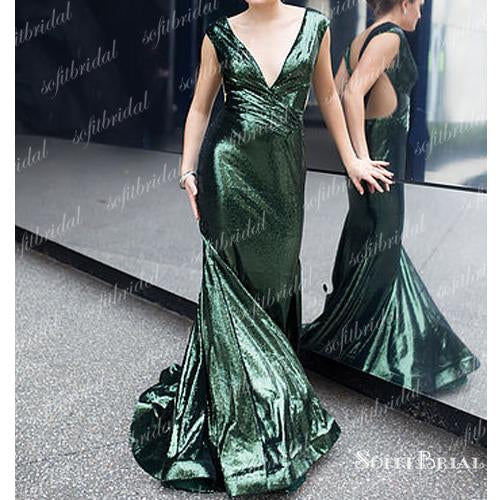 V-neck Green Sequin Long Mermaid Prom Dresses, Shiny Long Evening Dresses, PD0328