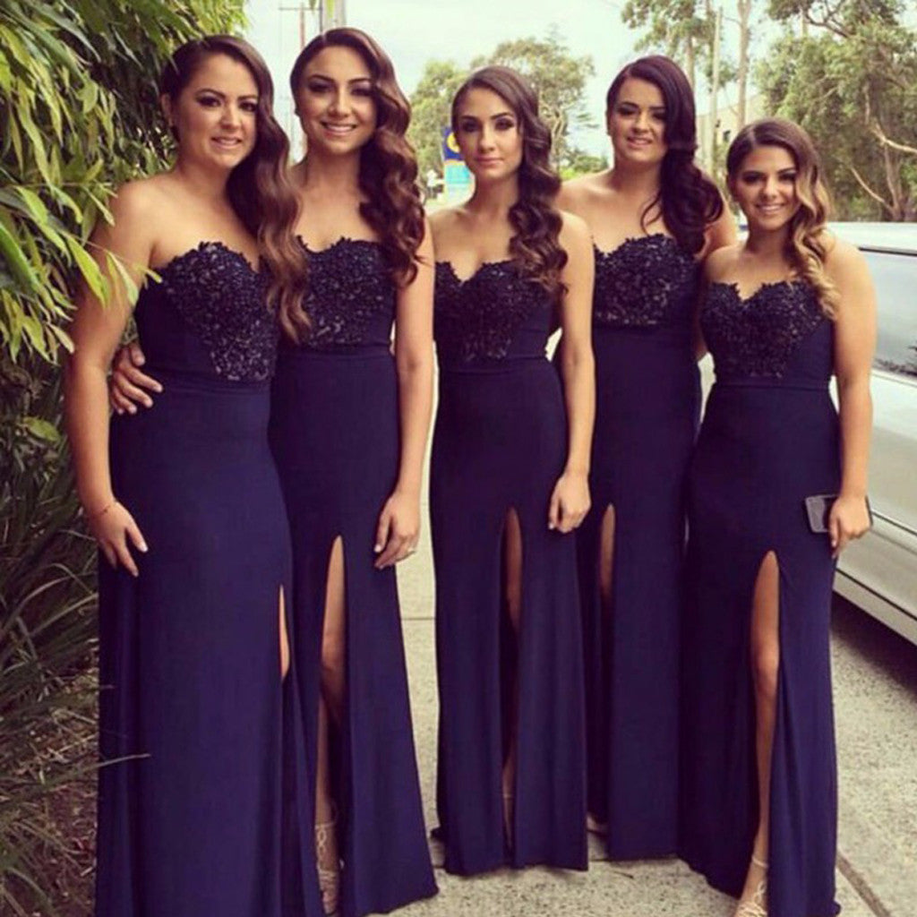 Sweetheart Navy Blue Side Slit Lace Jersey Bridesmaid Dresses, PD0264
