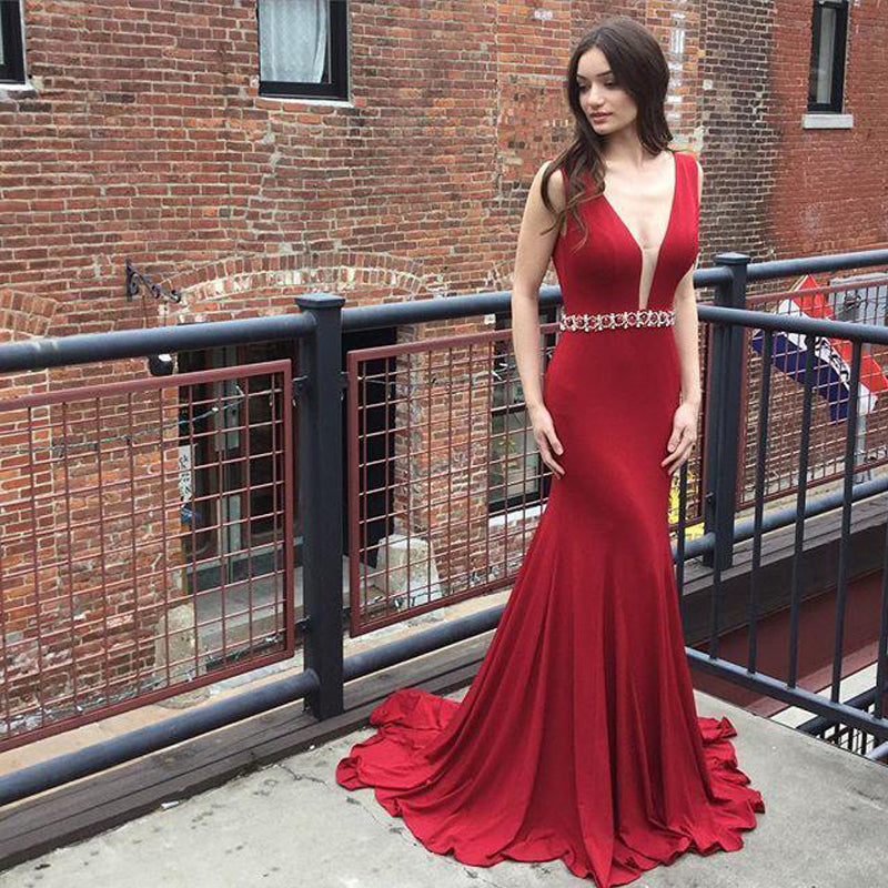 Red Mermaid Jersey V-back Long Prom Dresses, Rhinestone Belt Evening Gown, PD0317 - SofitBridal
