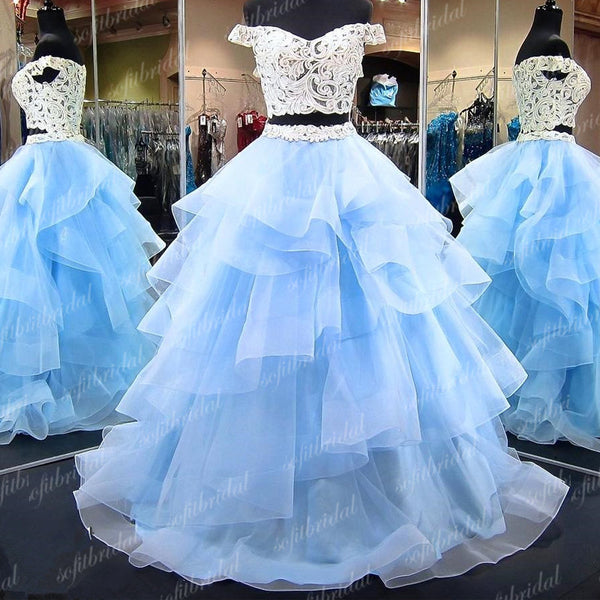 2 Pieces Off Shoulder Lace Prom Dresses, Light Blue Tulle Prom Dresses, Prom Dresses, PD0347 - SofitBridal