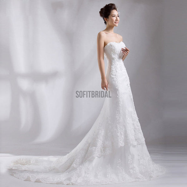 Sweetheart Long Sheath Luxury Lace Wedding Dresses, Bridal Gown, WD0188
