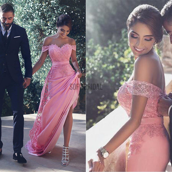 c7fc7f9744e Hot Pink Off Shoulder Sexy Mermaid Lace Prom Dresses