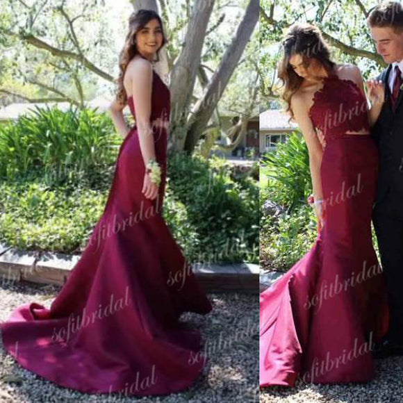 2 Pieces Halter Lace Mermaid Satin Prom Dresses, Lovely Prom Dresses, Prom Dresses, PD0363