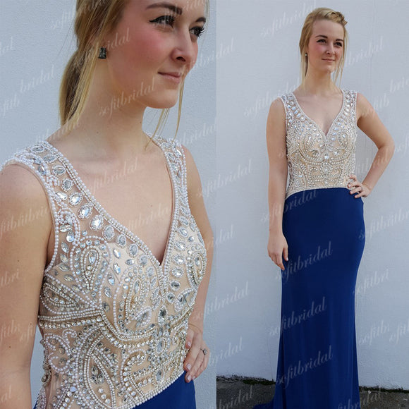 Royal Blue Jersey Mermaid Rhinestone Beaded Top Gorgeous Prom Dresses, PD0342