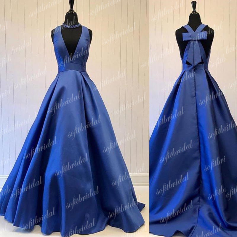 V-neck Royal Blue Satin A-line Prom Dresses, Special Back Design Prom Dress, Prom Dresses, PD0359