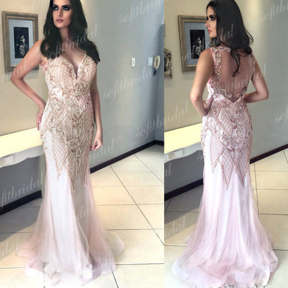 Light Pink Rhinestone Beaded Prom Dresses, Mermaid Tulle Prom Dress, Prom Dresses, PD0355