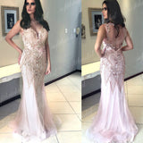 Light Pink Rhinestone Beaded Prom Dresses, Mermaid Tulle Prom Dress, Prom Dresses, PD0355 - SofitBridal