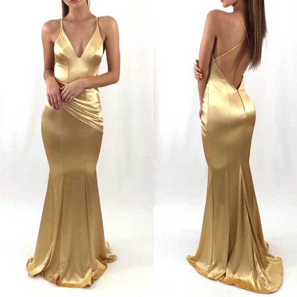 Spaghetti V-neck Soft Satin Long Mermaid Prom Dresses, Newest Long Prom Dresses, PD0306