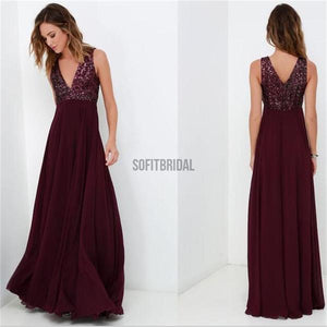 Maroon V-neck Sleeveless Long A-Line Sequin Top Chiffon Prom Dresses, WD0222 - SofitBridal