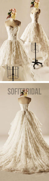 Unique Hi-low Sweetheart Lace Wedding Dresses, Popular Lace Up Bridal Gown, WD0003 - SofitBridal