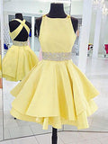 A-line Criss-cross Back Short Dress with Beaded Sash, Lemon Yellow Pleats Homecoming Dress, EME129