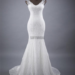 Elegant V-neck Lace Mermaid Wedding Party Dresses, Vantage Bridal Gown, WD0030 - SofitBridal