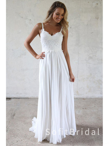 A-Line V-Neck Spaghetti Straps Chiffon Floor Length Beach Wedding Dresses With Lace,STWD0030