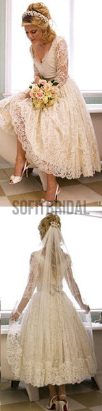 Vantage V-Neck Long Sleeve Tea Length White Lace Princess Wedding Party Dresses, WD0031 - SofitBridal