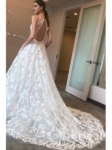 New Arrival A-Line Deep V-Neck Spaghetti Straps Lace Long Wedding Dresses,STWD0031