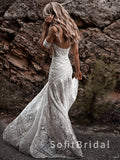 Mermaid Off The Shoulder Sweetheart Lace Custom Long Wedding Dresses,STWD0032