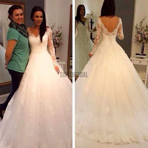 Charming V-Neck Long Sleeve Lace Wedding Party Dresses, Gorgeous Bridal Gown, WD0032 - SofitBridal