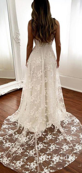 Alluring A-Line V-Neck Spaghetti Straps Lace Long Wedding Dresses With Slit,STWD0033