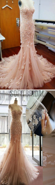 Pink Lace Sweetheart Sexy Mermaid Wedding Party Dresses With Appliques, WD0033 - SofitBridal