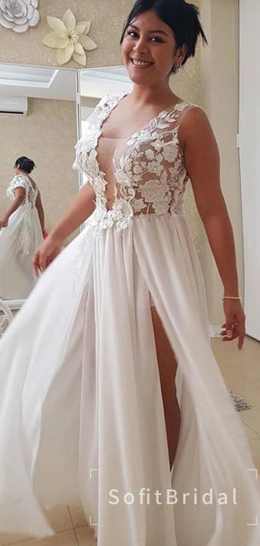 See Through A-Line Deep V-Neck Sleeveless Chiffon Long Wedding Dresses With Lace,STWD0034