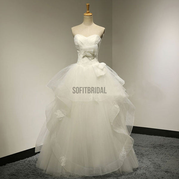 Chic Design Sweetheart White Tulle Wedding Party Dresses With Lace, Lace Up Bridal Gown, WD0034 - SofitBridal