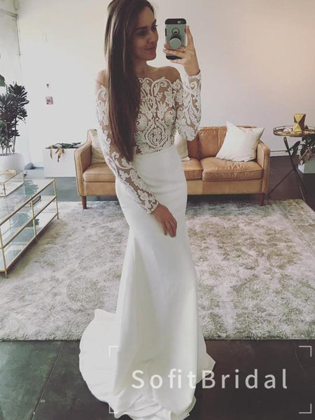Mermaid Off The Shoulder Long Sleeves Cheap Wedding Dresses With Lace,STWD0035