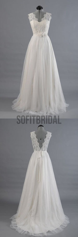Best Sale Vantage V-Back Lace Top Simple Design Wedding Party Dresses, WD0036 - SofitBridal