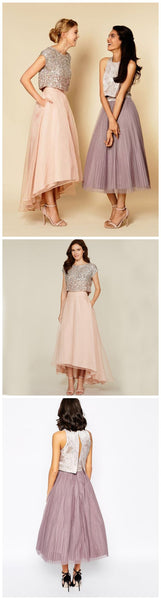 Pretty Two Pieces Cap Sleeve Sequin Top Organza Long Bridesmaid Dresses Cheap Prom Dresses, WG38 - SofitBridal