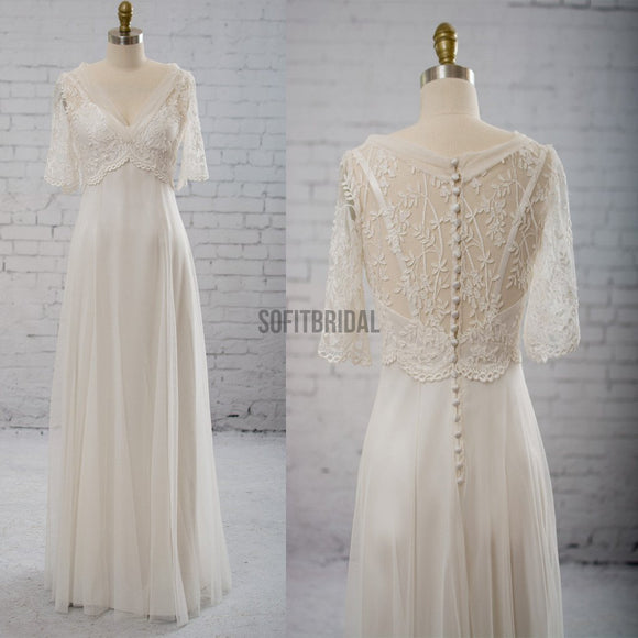 Vantage Half Sleeve V-Neck Elegant See Through Wedding Party Dresses, WD0037 - SofitBridal