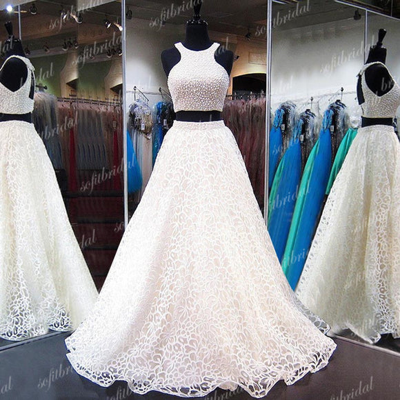 2 Pieces Ivory Lace Beaded Prom Dresses, Open Back Prom Dress, A-line Prom Dresses, PD0360 - SofitBridal