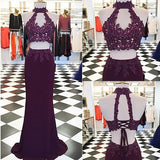 2 Pieces Burgundy Lace Beaded Halter Lace Up Long Sheath Prom Dresses, PD0297 - SofitBridal