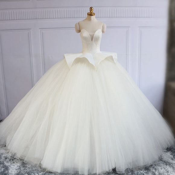 Sweetheart Ivory Satin Ball Gown Tulle Wedding Dresses, Lace Up Princess Wedding Dresses, PD0303