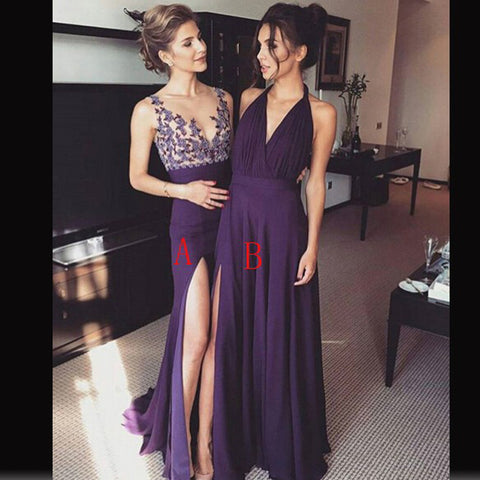 2017 Charming Mismatched Purple Jersey Lace Bridesmaid Dresses, PD0263 - SofitBridal