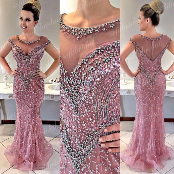 Round Neckline Rhinestone Beaded Long Mermaid Prom Dresses, Prom Dresses, PD0356