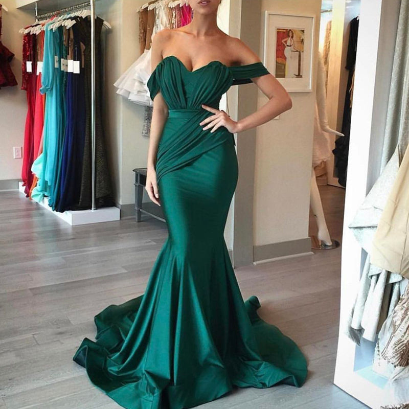 Off Shoulder Sweetheart Teal Mermaid Satin Prom Dresses, Long Prom Dresses, PD0318 - SofitBridal
