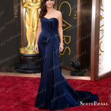 Sweetheart Navy Long Mermaid Gorgeous Celebrity Dresses, Affordable Prom Dresses, PD0343