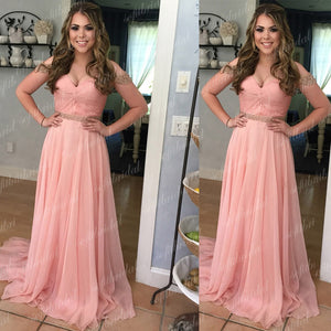 Off Shoulder Beaded Chiffon Prom Bridesmaid Dresses, Formal Dresses, PD0352 - SofitBridal