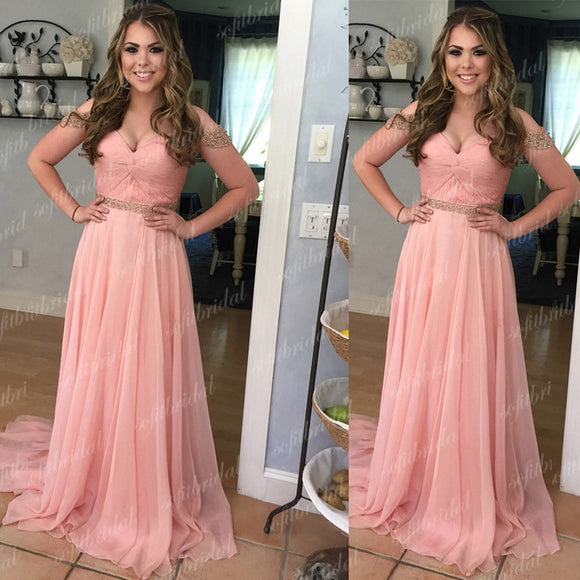 Off Shoulder Beaded Chiffon Prom Bridesmaid Dresses, Formal Dresses, PD0352