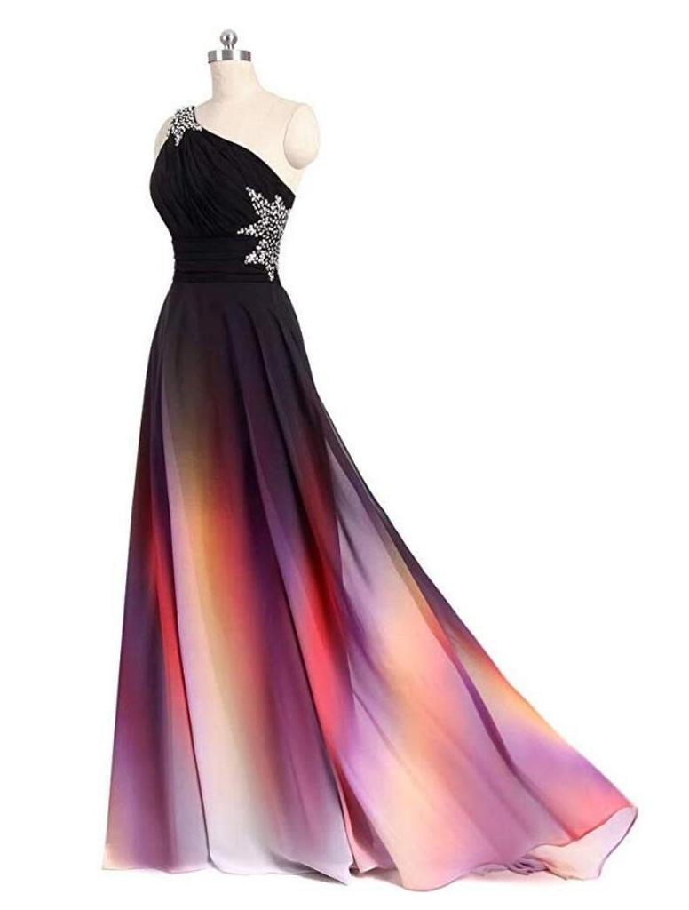 One Shoulder Gradient Chiffon Beaded Long Prom Bridesmaid Dresses, PD0384