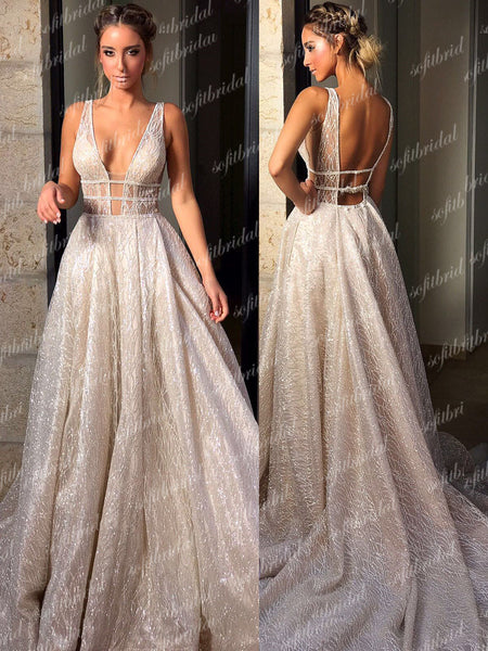 Sexy V-neck Sequin A-line Prom Wedding Dresses, Gorgeous Sparkle Prom Dresses, PD0361