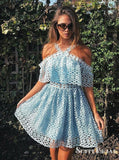 A-Line Cross-Neck Knee-Length Light Blue Lace Homecoming Dresses, TYP0278