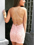 Multicolored Scoop Sexy Backless Applique Mini Dress , Criss-cross Spaghetti Homecoming Dress, EME089