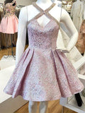 A-line Criss-cross Satin Pleats Homecoming dresses, Elegant Ball Dress SEME230