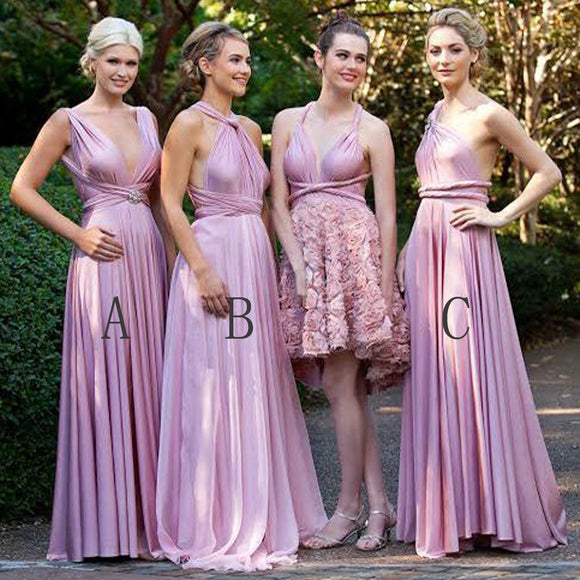 Fashion Convertible Jersey Cheap Pleating Floor-Length Morden Wedding Bridesmaid Dresses, WG41