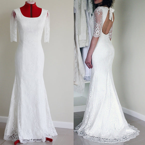 Popular Half Sleeve Sexy Long Mermaid Open Back White Lace Wedding Party Dress, WD0041 - SofitBridal