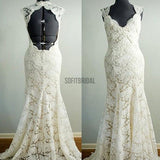 Vantage Beige Lace Open Back Long Mermaid Wedding Party Dresses, Bridal Gown, WD0042 - SofitBridal