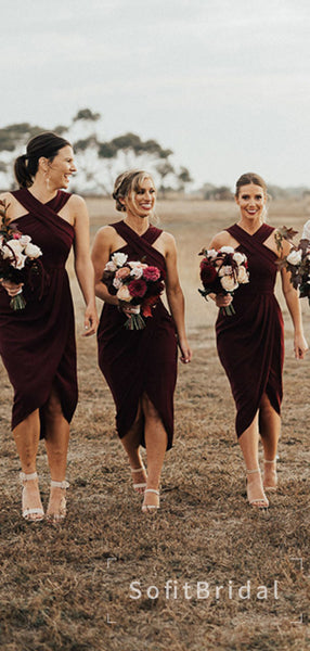 Mermaid Cross Neck Sleeveless Burgundy Cheap Long Bridesmaid Dresses,STWG0044