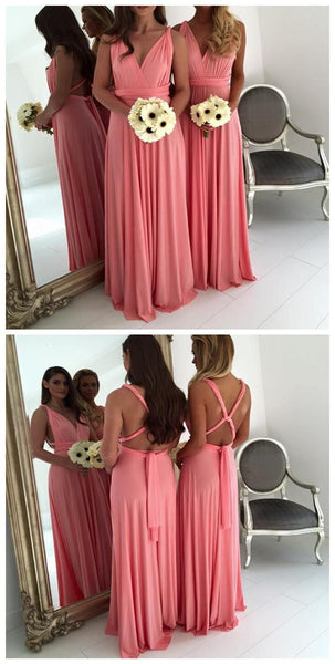 Simple Cheap Jersey Convertible Open Back Sexy Long High Quality Handmade Bridesmaid dresses, WG45