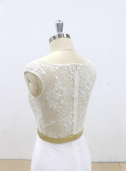 See Through Lace Sheath Cheap Beach Wedding Dresses Online, WD385